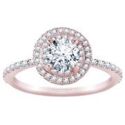 Double Halo Round Diamond Engagement Ring