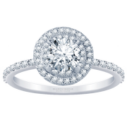 1/2ctw Double Halo Engagement Ring, Round Diamond