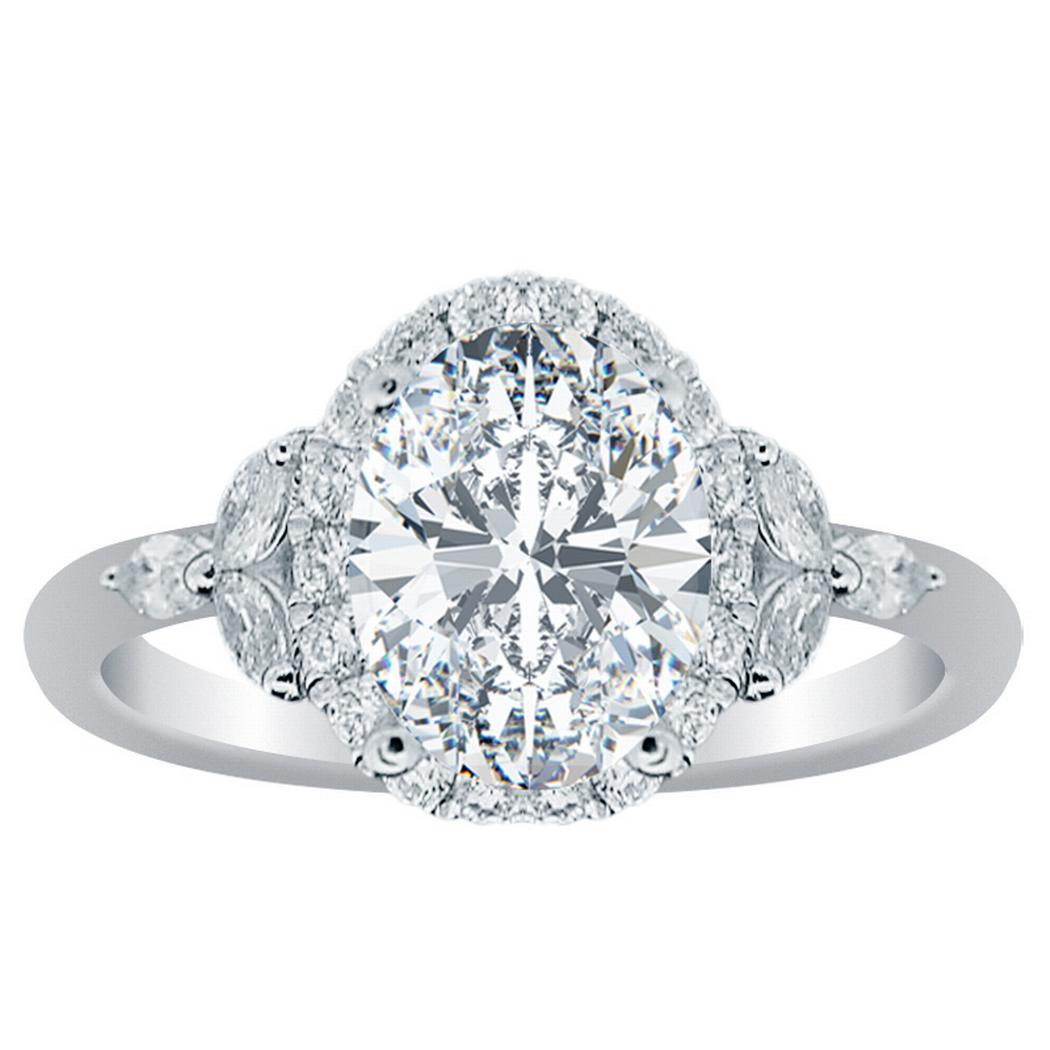 Halo Flower Engagement Ring Oval Diamond 18Kt