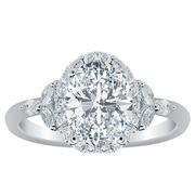 18k Halo Flower Engagement Ring Oval Diamond