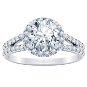 5/8ctw French Set Split Band Halo Engagement Ring Round Diamond