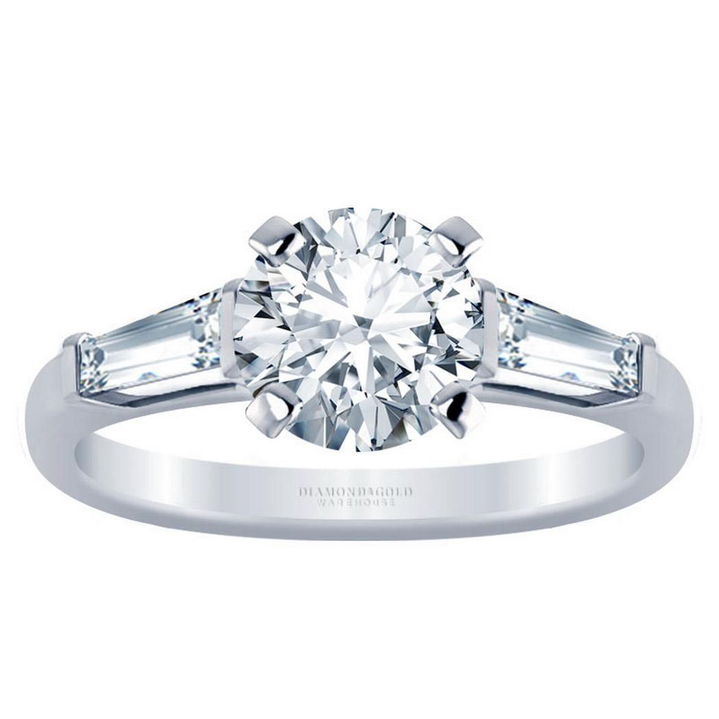 Three Stone Round Diamond Engagement Ring - With Baguettes