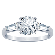 Round Three Stone Engagement Ring, Baguette Sides, 0.32ctw