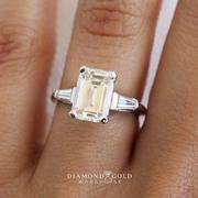 Three Stone Emerald Diamond Engagement Ring - With Baguettes