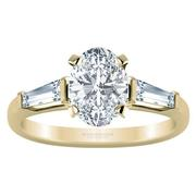 Three Stone Oval Diamond Engagement Ring- With Baguettes