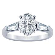 Oval Three Stone Engagement Ring, Baguette Sides, 0.25ctw