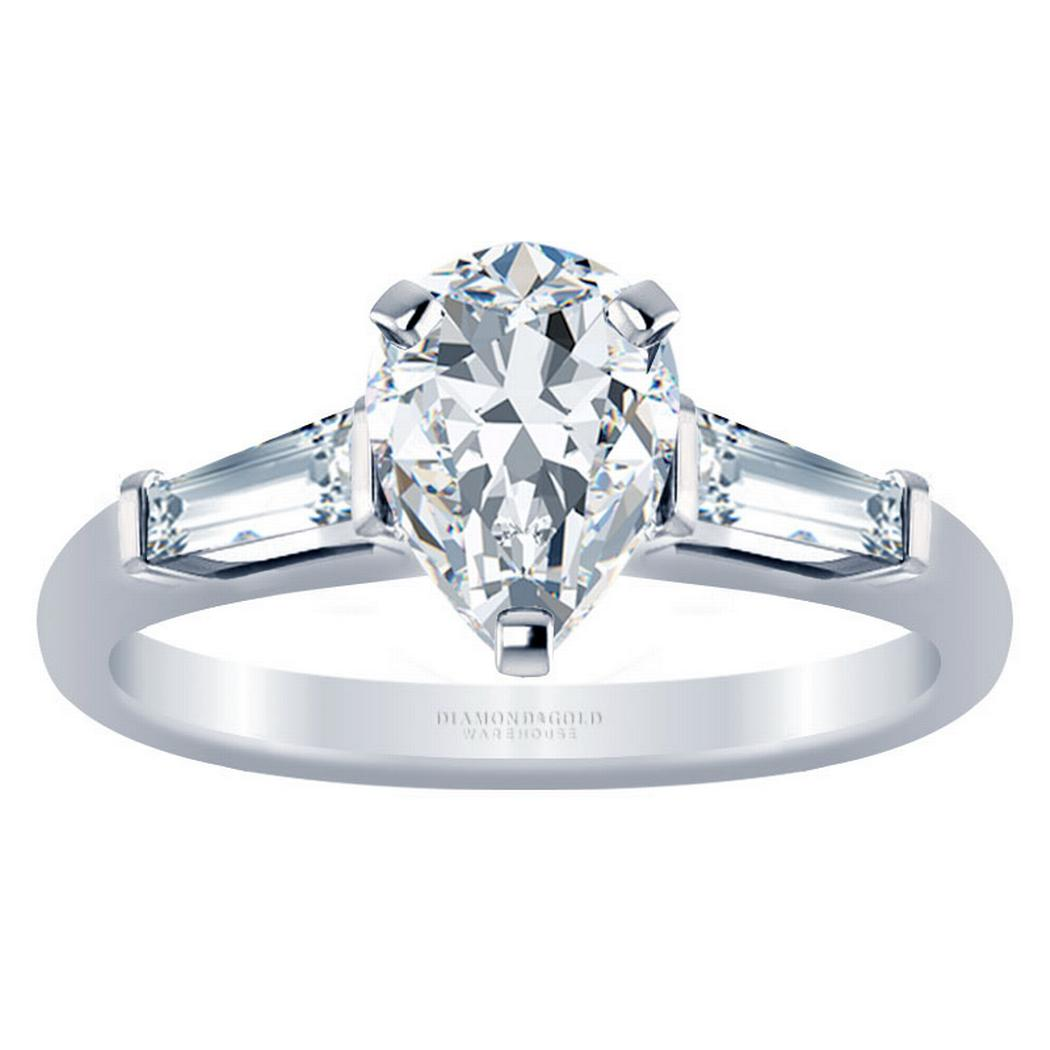 Three Stone Pear Diamond Engagement Ring - With Baguettes