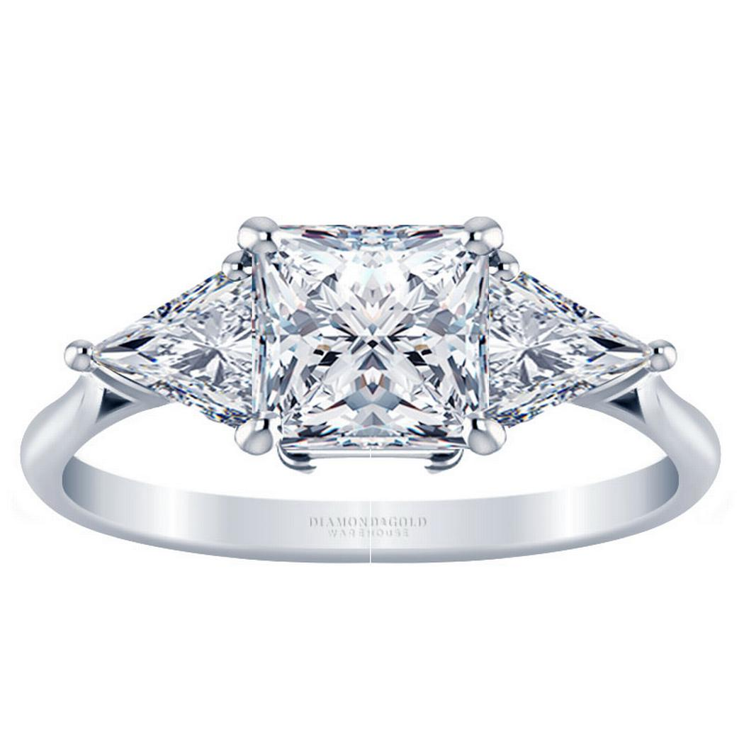 Three Stone Princess Diamond Engagement Ring - With Triangles