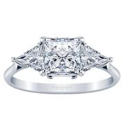 Princess Three Stone Engagement Ring, Triangle Sides, 0.75ctw