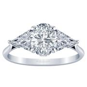 Three Stone Oval Diamond Engagement Ring- With Triangles