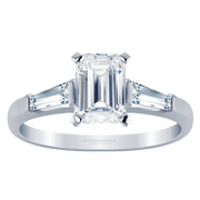 Emerald Cut Three Stone Engagement Ring, Baguette Sides, 0.25CTW