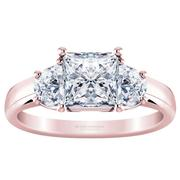 Princess Three Stone Engagement Ring - With Half Moons