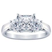 Princess Three Stone Engagement Ring, Half Moon, 0.75ctw