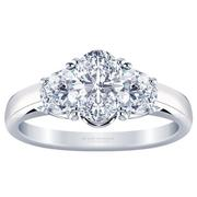 Three Stone Oval Diamond Engagement Ring - With Half Moons