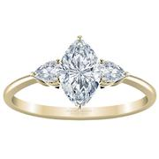 Marquise Diamond Three Stone Engagement Ring, Pear Sides