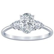 Oval Diamond Three Stone Engagement Ring, Pear Sides