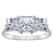 Princess Three Stone Engagement Ring, Triangle Sides, 0.75ctw
