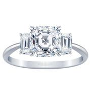 Three Stone Asscher Diamond Engagement Ring