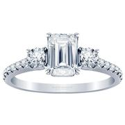 Emerald Three Stone Engagement Ring, Diamond Band, 0.44ctw