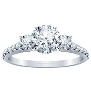 Round Three Stone Engagement Ring, Diamond Band