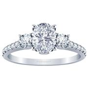 Oval Three Stone Engagement Ring, Diamond Band 0.45ctw