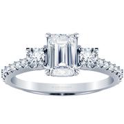 Emerald Three Stone Engagement Ring, Diamond Band, 0.44ctw