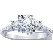 Round Three Stone Engagement Ring, Diamond Band