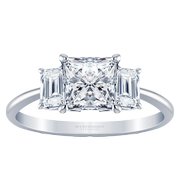 Princess Knife Edge Three Stone Ring, Emerald Side Stones, 3/5ctw
