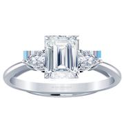 Emerald Diamond Three Stone Engagement Ring, Pear Sides
