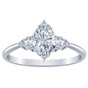 Marquise Diamond Three Stone Engagement Ring, Pear Sides