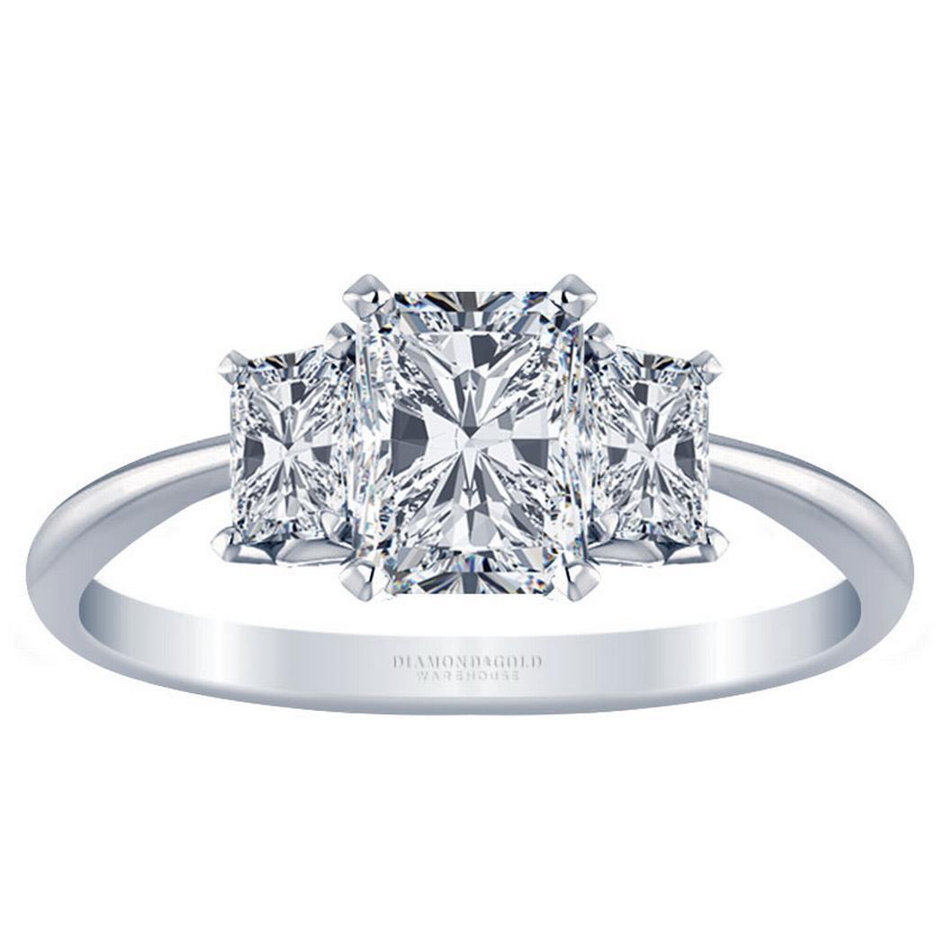 Radiant Knife Edge Three Stone Engagement Ring, Radiant Sides