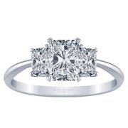 Radiant Knife Edge Three Stone Engagement Ring, Radiant Sides