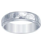 Men's Satin Hammered Wedding Band