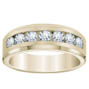 14k Channel Set Diamond Men's Wedding Ring