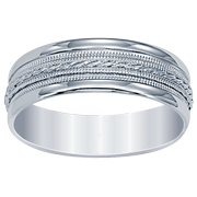 14k Engraved Milgrain Men's Wedding Band