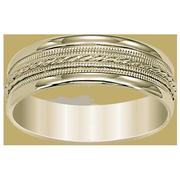 14k Engraved Milgrain Men's Wedding Band
