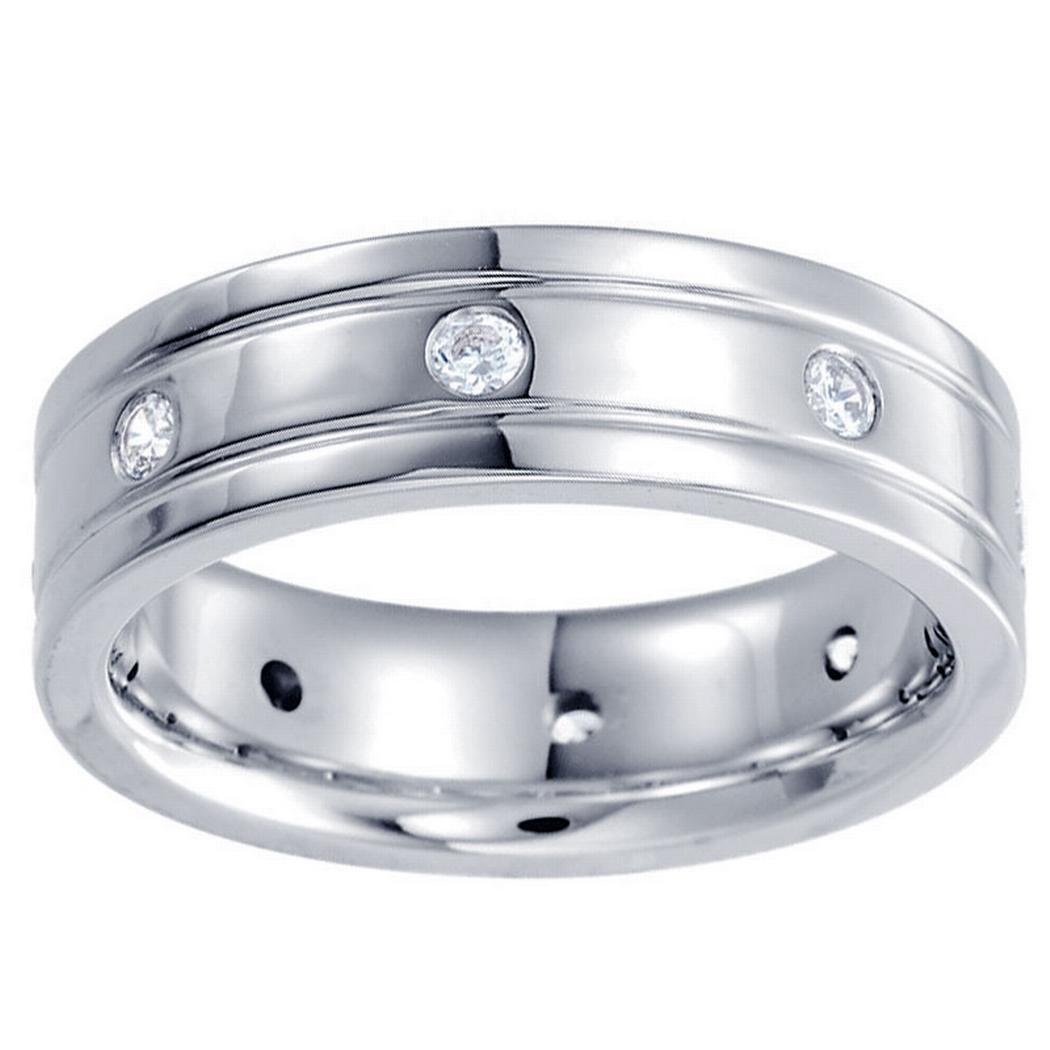 1/2ctw Diamond Double Grooved Men's Band