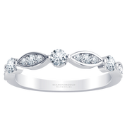 Stackable Diamond Wedding Band - Alternating Diamonds