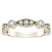 14k Scalloped Round and Marquise Diamond Ladies Ring