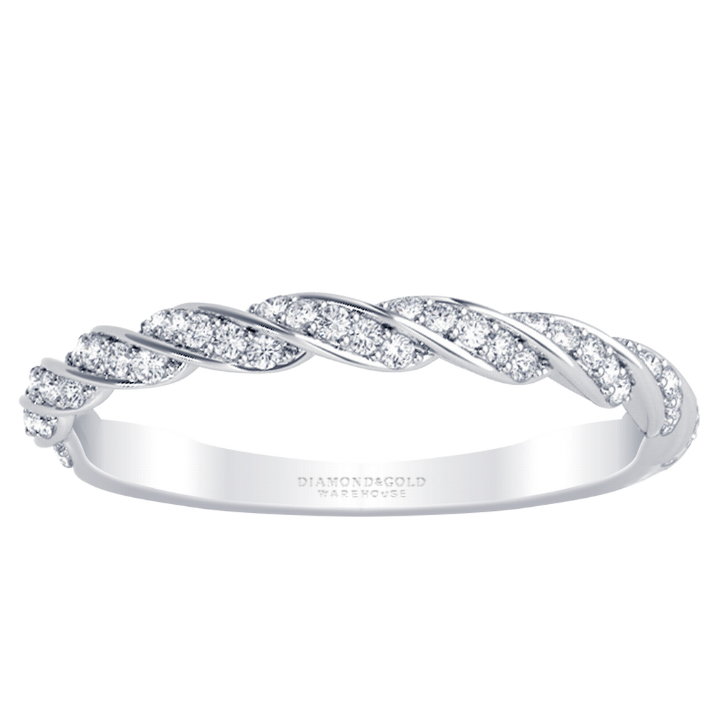 14k Twisted Pave Diamond Wedding Ring