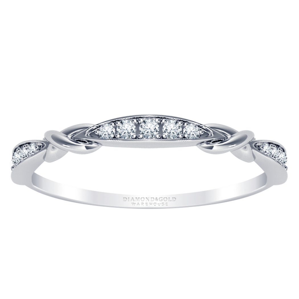 Petite Knot Diamond Stackable Band