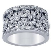 1.20ctw Wide Band Flowe Diamond Ring
