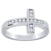 0.28ctw Horizontal Cross Diamond Fashion Ring