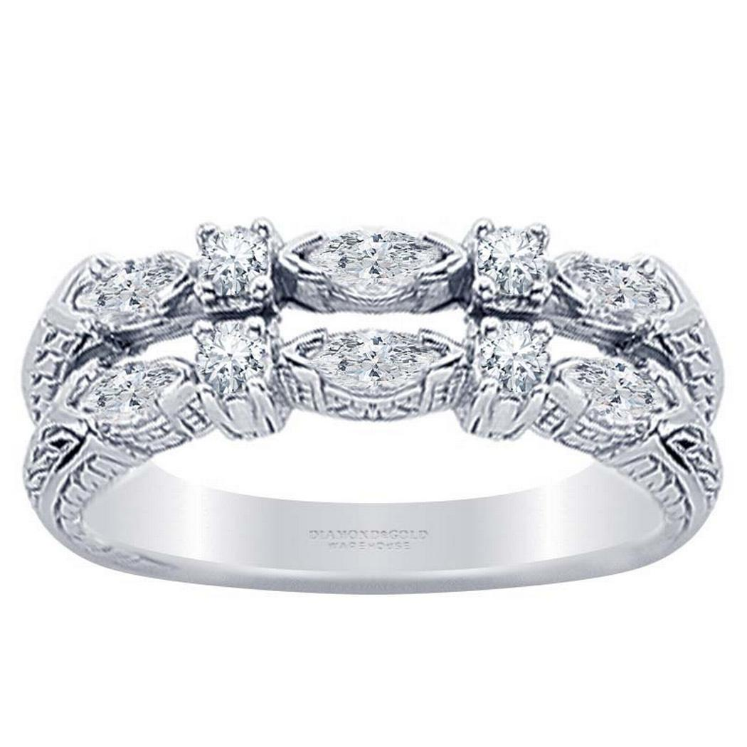 0.58ctw Two Row Marquise and Round Diamond Band