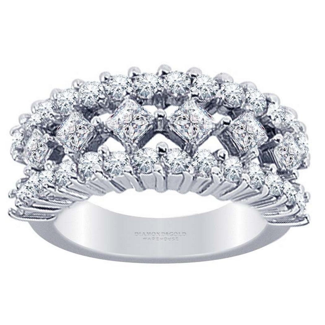 1.68ctw Princess and Round Diamond Fashion Ring