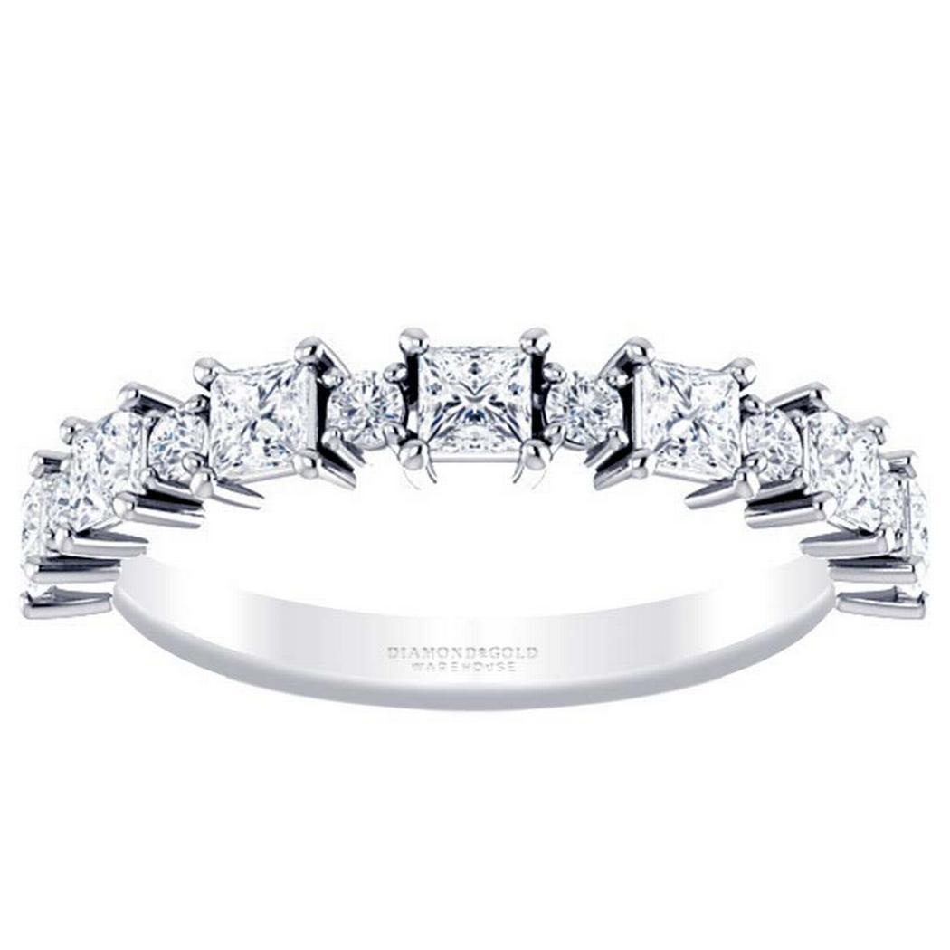 Alternating Diamond Princess Anniversary Band