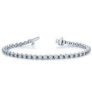 14k Line Bar Diamond Bezel Tennis Bracelet