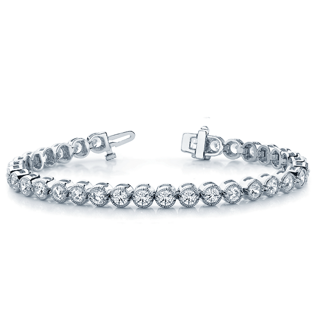 14k Prong Set Milgrain Bezel Diamond Tennis Bracelet
