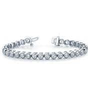 14k Prong Set Milgrain Bezel Diamond Tennis Bracelet