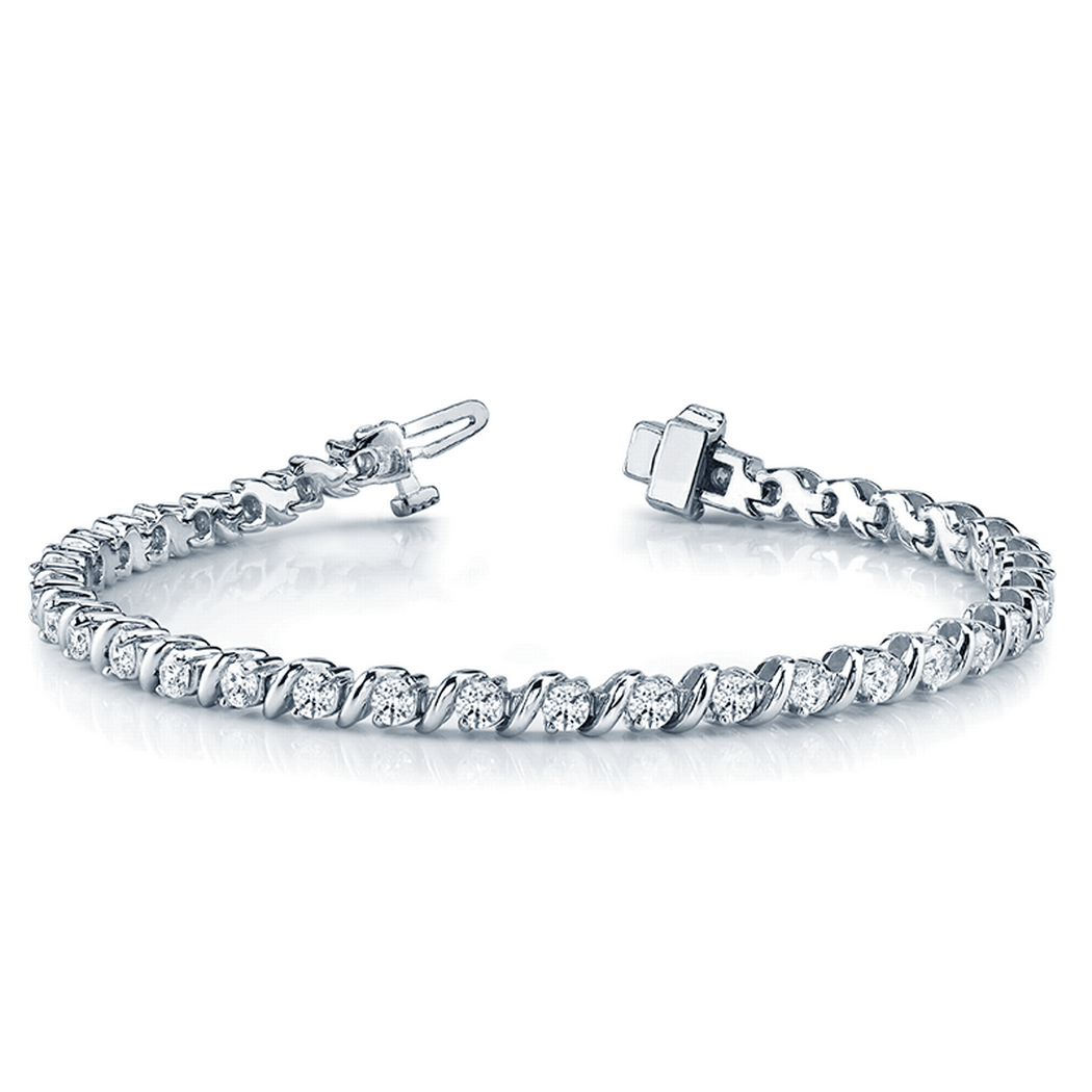 14k S-Link Diamond Tennis Bracelet, Round Diamonds